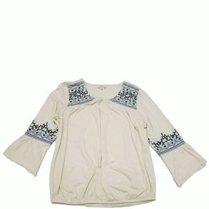 Style Co Embroidered Lantern-Sleeve Top East